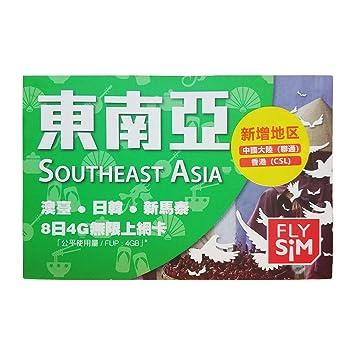 Tarjeta de sim de Asia del Sur, prepagada, 4 GB/8 días ...