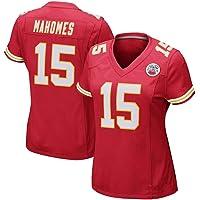 NBJBK Camiseta de Rugby de la NFL para Mujer, Kansas City Chiefs # 15 Mahomes 87 Kelce Ropa Deportiva Bordada de fútbol Camiseta de Manga Corta Deportiva