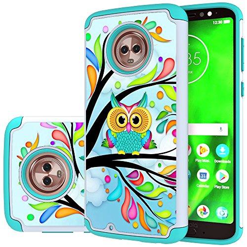 Moto G6 Case, MAIKEZI Hybrid Dual Layer TPU Plastic Armor Defender Phone Case Cover for Motorola Moto G6 2018, Shock Absorption, Drop Protection (Armor Green Owl)