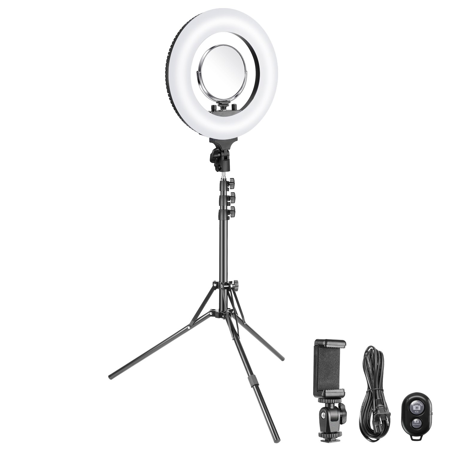 Neewer 14-inch Outer Dimmable SMD LED Ring Light with 69-inch Stand Kit 40W Bi-color 3200k-5500k with Cosmetic Mirror and Phone Holder for Photo Portrait Photography,Make Up,YouTube Video Shooting