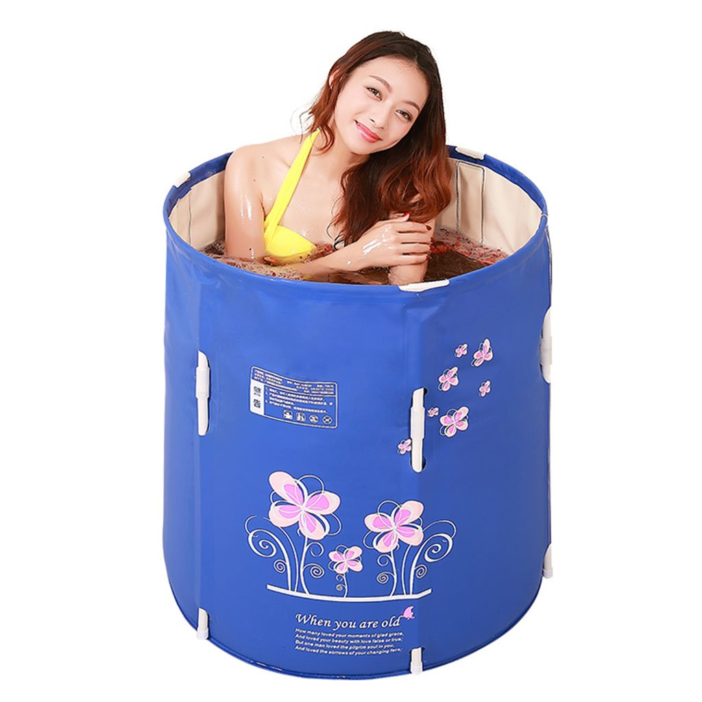Bathtubs Freestanding Lifting and Folding Bath tub Children's Bath tub Adult Thick tub Plastic Inflatable with air Pump (Color : Blue, Size : 7070cm)