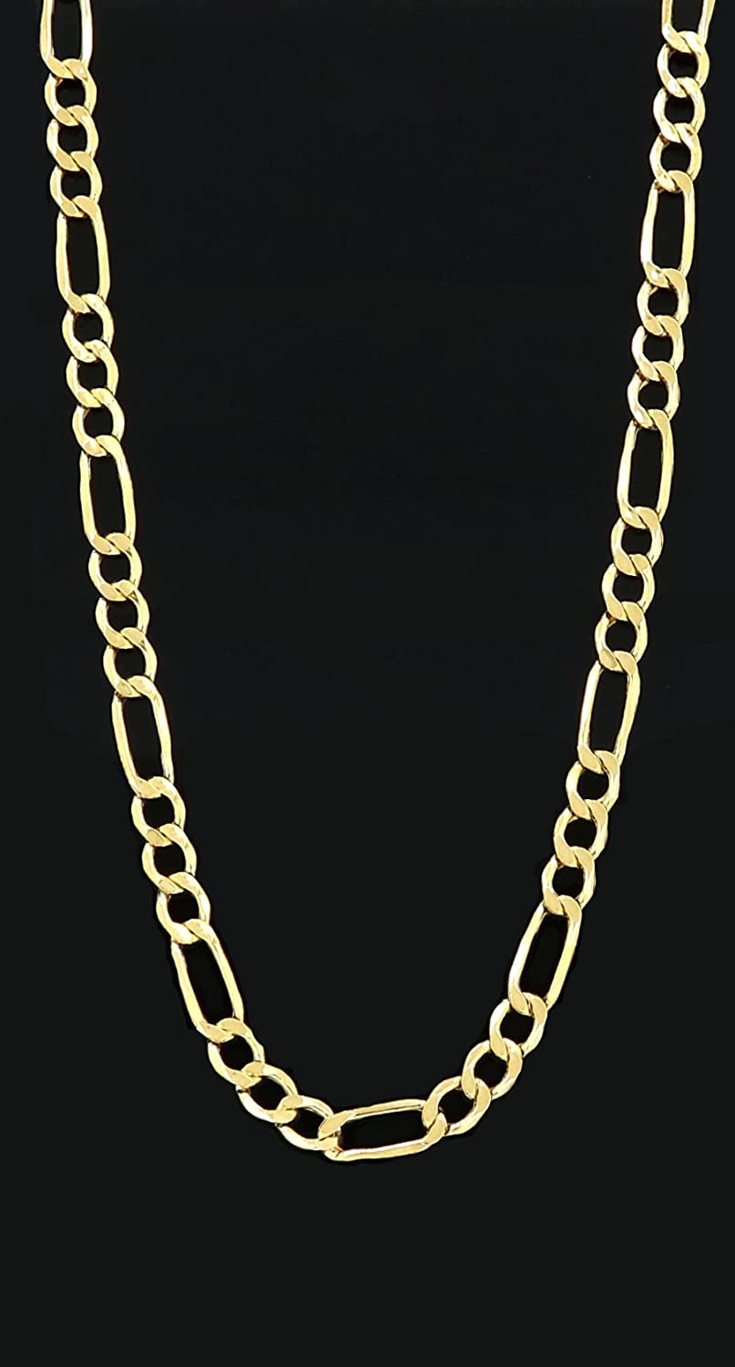 3.5MM Yellow Gold Hollow Figaro Chain Real 10K Necklace 18 to 24