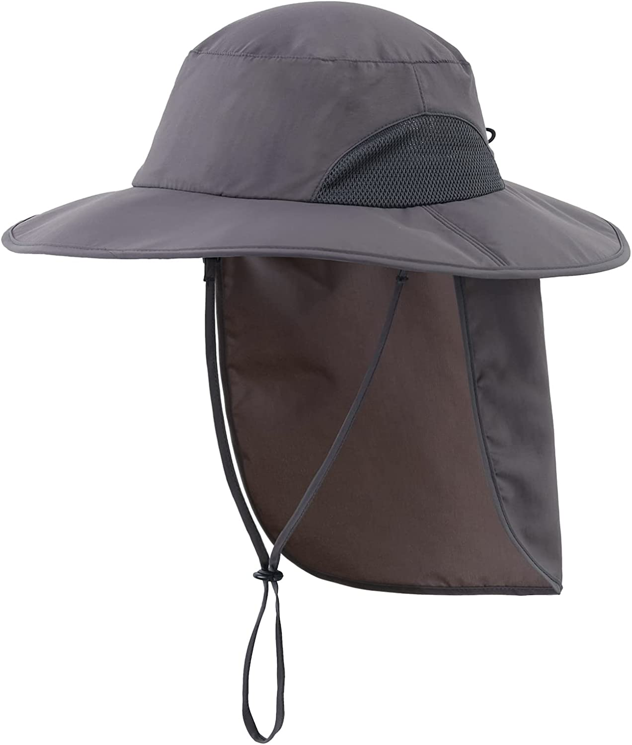Home Prefer Outdoor Mens UPF50+ Sun Hat Wide Brim Fishing Hat with Neck Flap