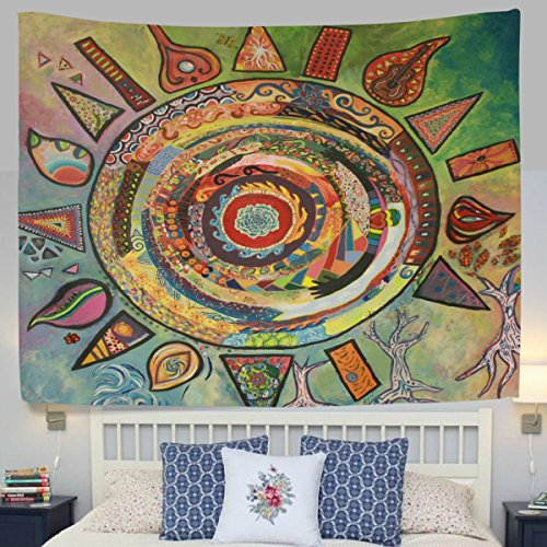 WellLee India Tapestry Ethnic Art Mandala Sun Fabric Tapestry