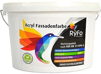 Wasserabweisende Farbe ryfo colors acryl fassadenfarbe 12 5l größe wählbar weiße außen