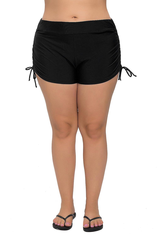V for City Women's Plus Size Swim Shorts Black Swim Bottom Beach Swim Board Shorts