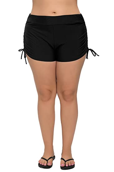 2f467cb1b4a V FOR CITY Womens Plus Size Swimsuit Bottom Tankini Bottom Beach Shorts  Black 1X
