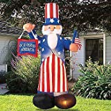 Giant Airblown Uncle Sam Yard Decoration - Inflatable July 4th Lawn Decor by Airblown Inflatables
