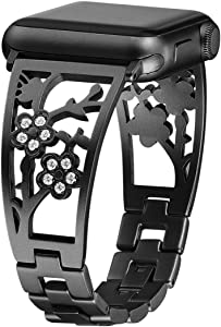 Mtozon Bling Bracelets Compatible with Apple Watch Band 42mm/44mm iwatch Bands Series 6/5/4/3/2/1, Women Stainless Steel Dressy Jewelry Bangle Wristband, Black