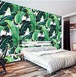 350cmX245cm Custom 3d wallpaper European retro hand-painted rain forest plant Banana Leaf Pastoral Wall Background papel de parede,E