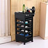 Yaheetech Salon SPA Beauty Hairdressing Rolling Trolley Cart with 5 Drawers Hair Dryer Service Tray Tool Storage Cart…