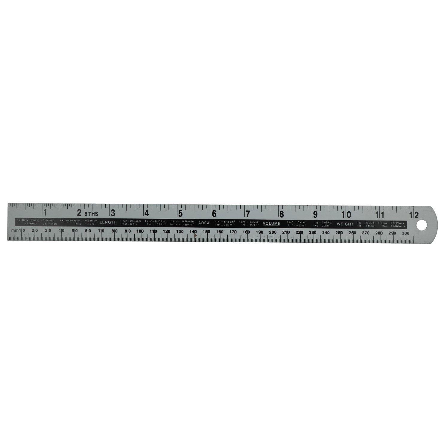 12'' (305mm) Aluminum Ruler Measuring Stick Metric Imperial Craft Drawing