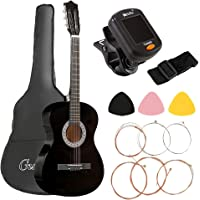 38 Inch Acoustic Guitar Wooden Classical Folk Guitar, Gifts for Beginners(with Tuner String Pick Bag Strap)-Black