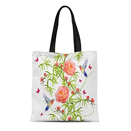 2587cfdec Semtomn Cotton Canvas Tote Bag Colorful Floral Bamboo Sakura Tropical  Flowers Japanese Roses Peony Reusable Shoulder
