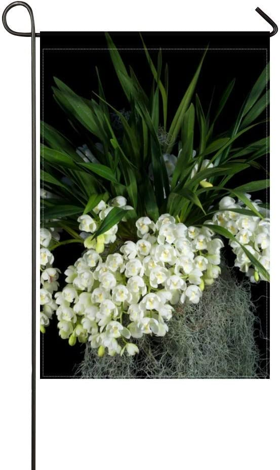 ZLU Garden Flag Flowers White Grape Leaves Black Background 12x18 inches(Without Flagpole)