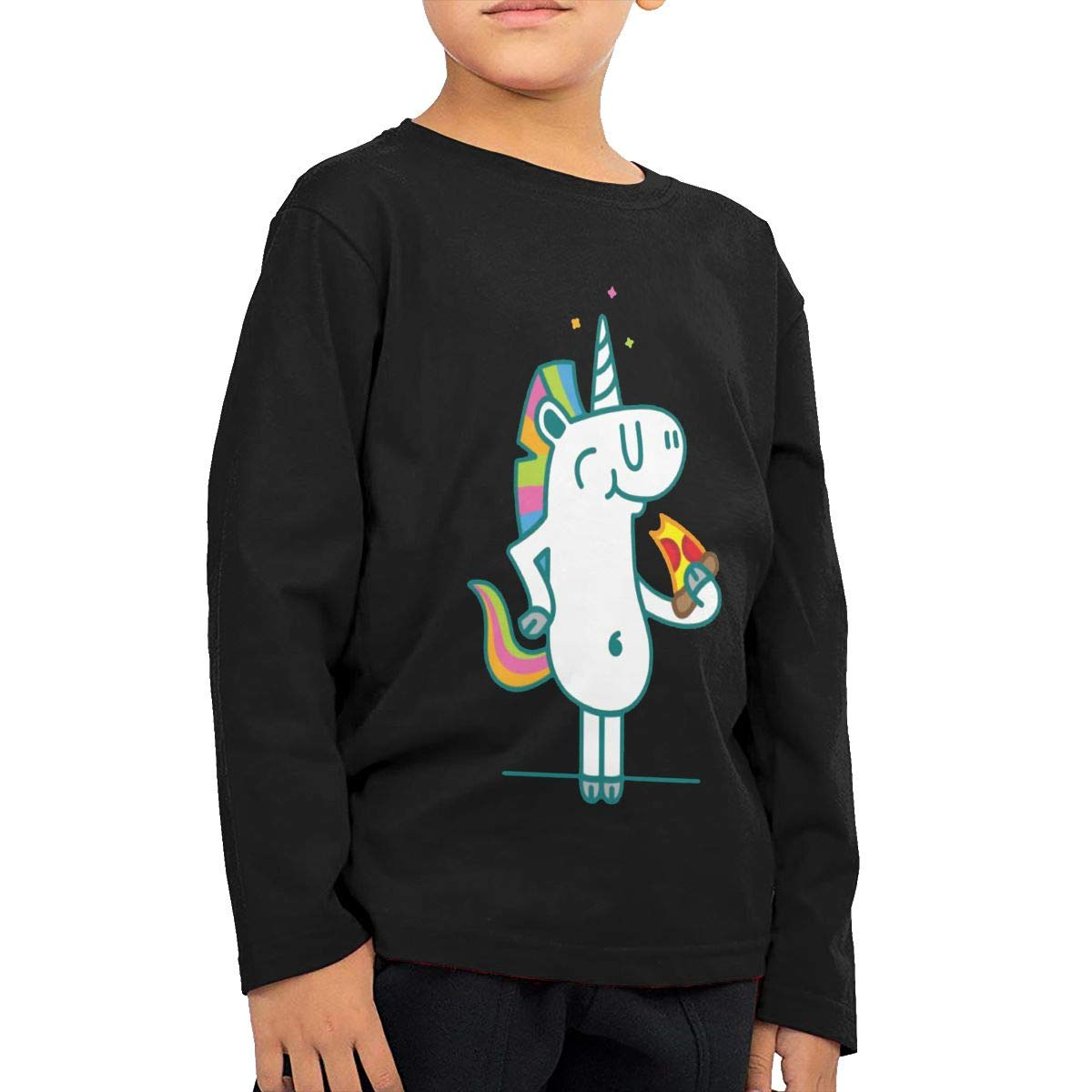 Magical Slice Unicorn Pizza Heaven Childrens Black Cotton Long Sleeve Round Neck T-Shirt for Boy Or Girl