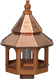 """product image for Saving Shepherd 27"""" Large 2-Tier Copper TOP Bird Feeder - Natural Cedar Post Mount Gazebo Amish Handcrafted in Lancaster Pennsylvania USA"""