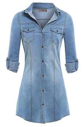 7e4df6a5a54 SS7 Women's New Stretch Denim Shirt Dress Sizes 8-14: Amazon.co.uk: Clothing