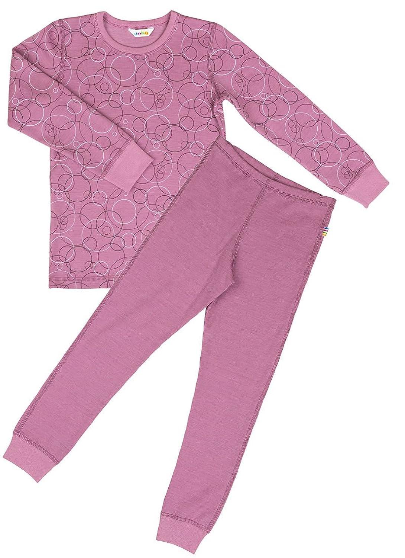 JOHA 2-teilige Mädchen Funktionsunterwäsche BUBBLES aus Merinowolle und Bio-Baumwolle in pink