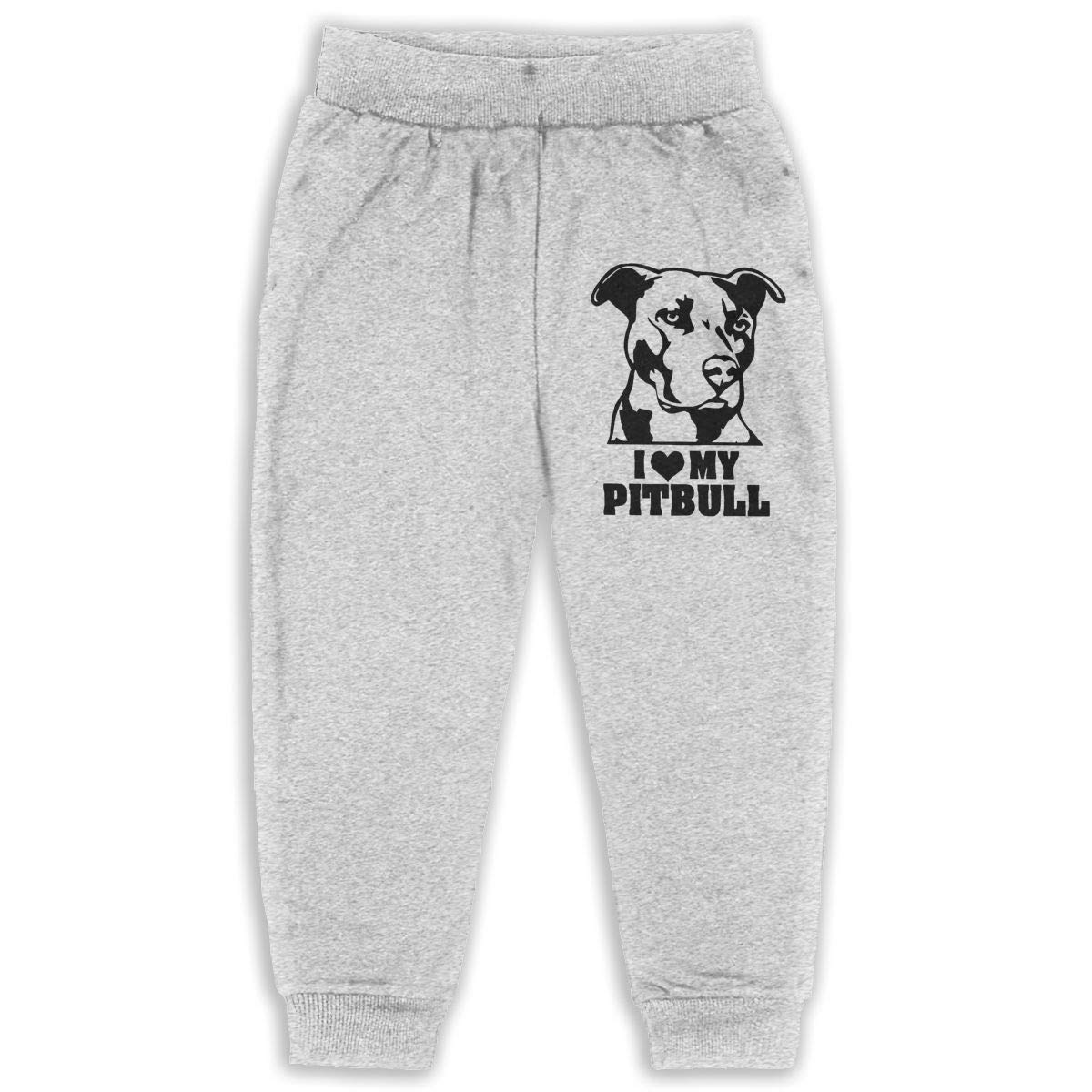 I Love My Pitbull Sweatpants for Boys /& Girls Fleece Active Joggers Elastic Pants