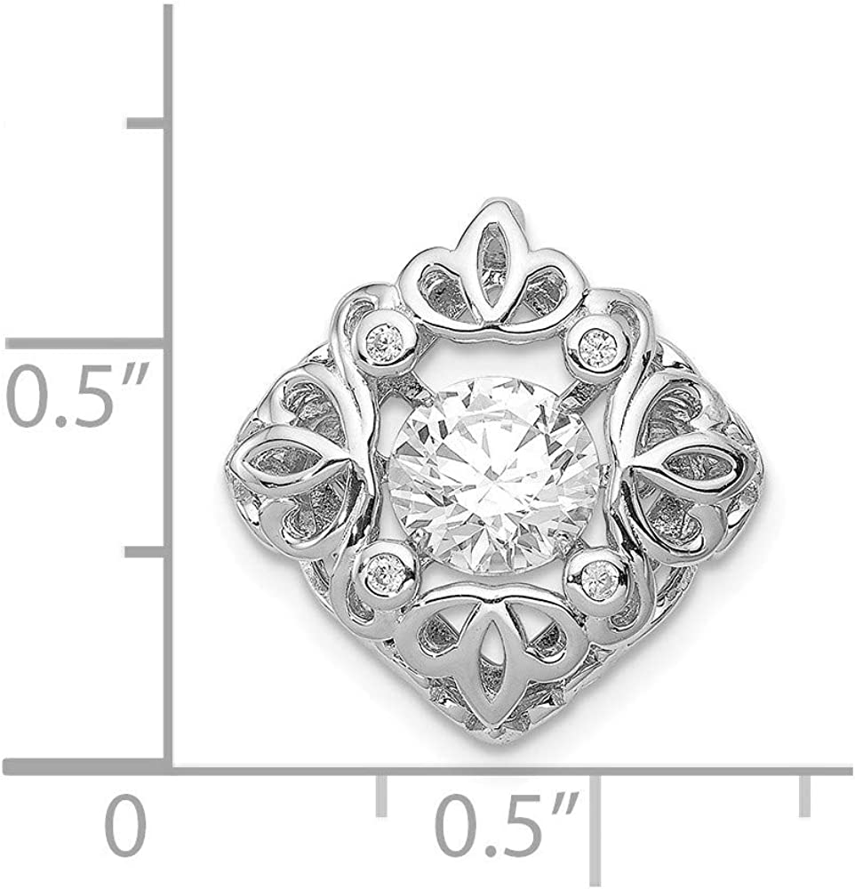 925 Sterling Silver Vibrant Cubic Zirconia Filigree Pendant
