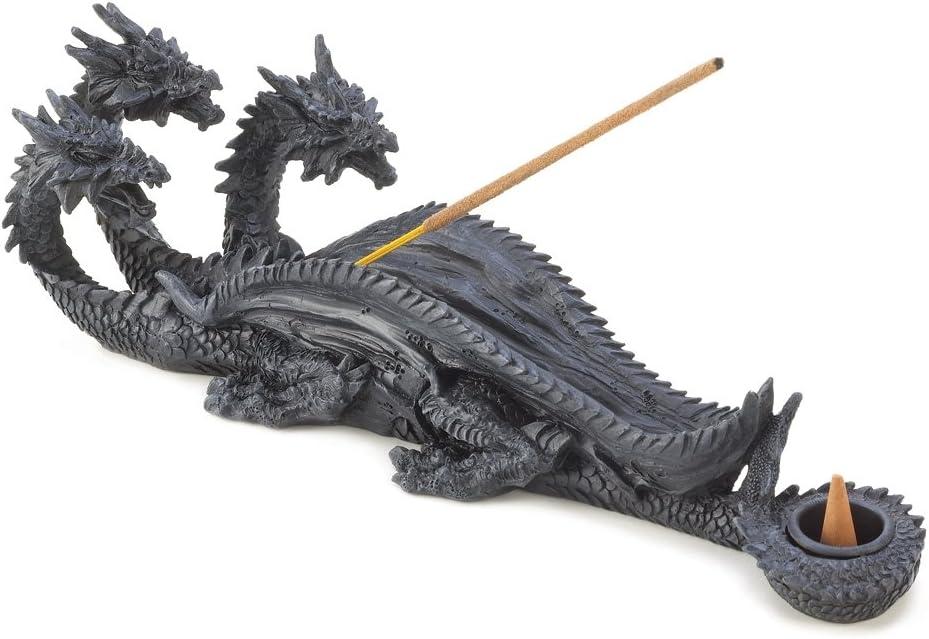 Zingz & Thingz Gothic Triple Dragon Incense Burner Figurine