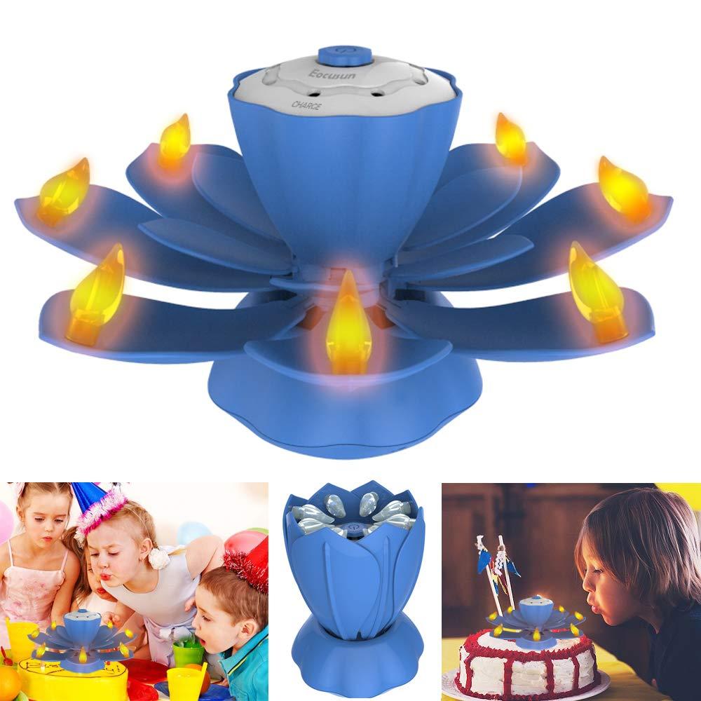 LED Flammenlose Geburtstagskerzen, EocuSun Musical Lotus Rotierend LED Geburtstag Blumenkerzen, 3 Modus Flackernde Geburtstag LED Kerzen für Birthday, Party, Weihnachtsgeschenke, Festival Geschenke