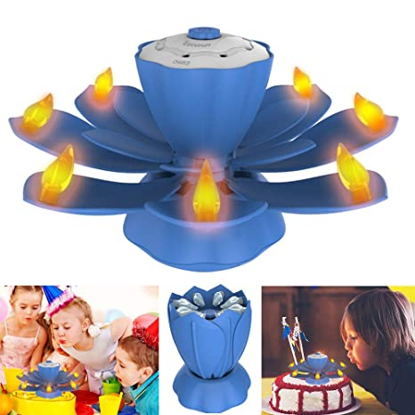EocuSun Flameless LED Birthday Candles Musical Lotus Rotating 3 Modes