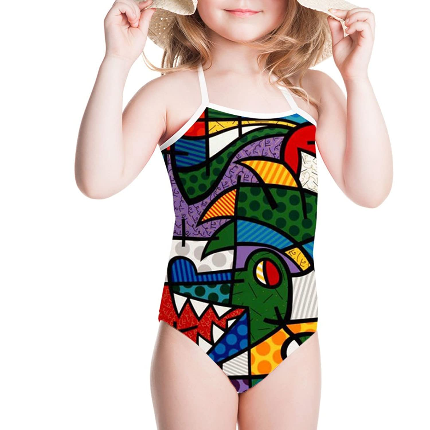doginthehole Abstract Painting Print Beachwear For Girl One Piece 3-4/5-6/7-8Y