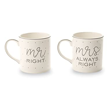 Mud Pie Mr. & Mrs. Always Right Wedding Set of 2 Mugs