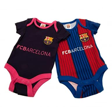 773fde35fbf 2 PACK FC BARCELONA FOOTBALL CLUB 9-12 MONTHS BABY BODYSUITS / VESTS SET  HOME / AWAY KIT AUTHENTIC: Amazon.co.uk: Clothing
