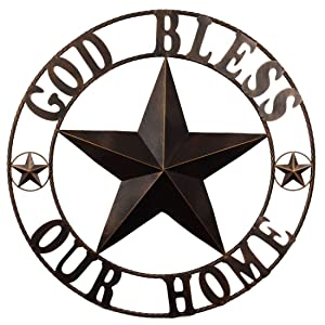 "EBEI 31.5"" Large Texas Metal Barn Star Western Home Wall Decor Vintage Circle Dark Brown Texas Lone Star Letters God Bless Our Home"