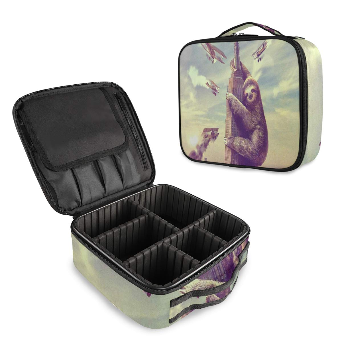 Funny Animal Sloth Climbs The BuildingTravel Makeup Case Cosmetic Bag Box Professional Train Case Large Make Up Storage Organizer with Removable Dividers Brush Section for Women Girls Hard Shell