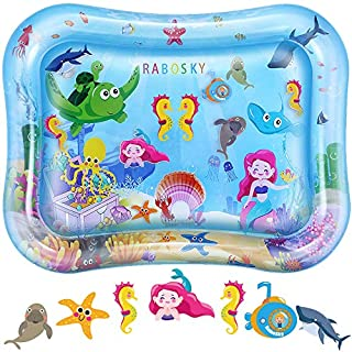 Rabosky Tummy Time Baby Water Mat, Baby Toys for 3 6 9 12 Months Infants, Baby Gift for Newborn Boys and Girls, Fun Activity Play Center for Baby Stimulation Growth