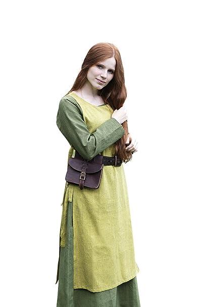 Elbenwald Acerca de Las Señoras Vestido Medieval Azafrán Amarillo con Algodón sin Mangas Cordones Laterales: Amazon.es: Ropa y accesorios