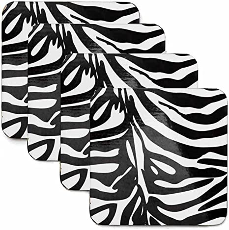 Amazon Com Stationery Creations Zebra Print Coasters Set Of Four Home Kitchen
