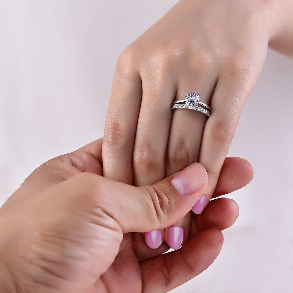 Sreema London Elegant 925 Sterling Silver Solitaire Women\'s Wedding ...