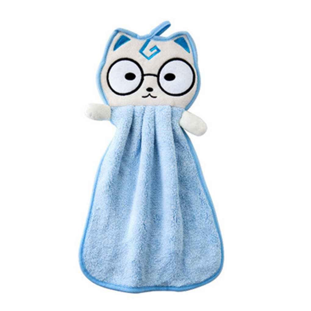 Zerama Bébé Kitty Hanging Serviette de Cartoon Mouchoir Cuisine du Nouveau-né débarbouillettes Salle de Bains Cat Voiture Chiffon de Nettoyage Vaisselle Débarbouillette
