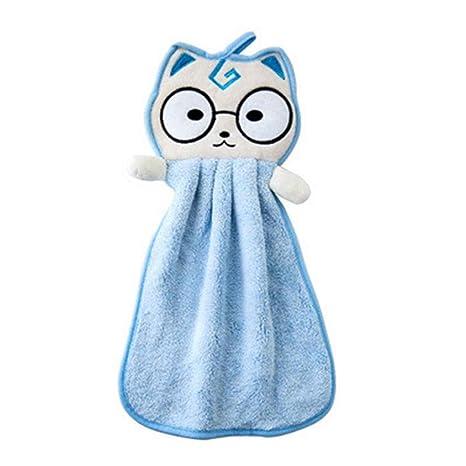 Gatito bebé que cuelga la toalla de mano de dibujos animados Pañuelo cocina recién nacido Estropajos