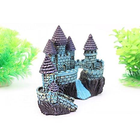 Wicemoon - Figura decorativa para acuario, diseño de pecera, color azul antiguo
