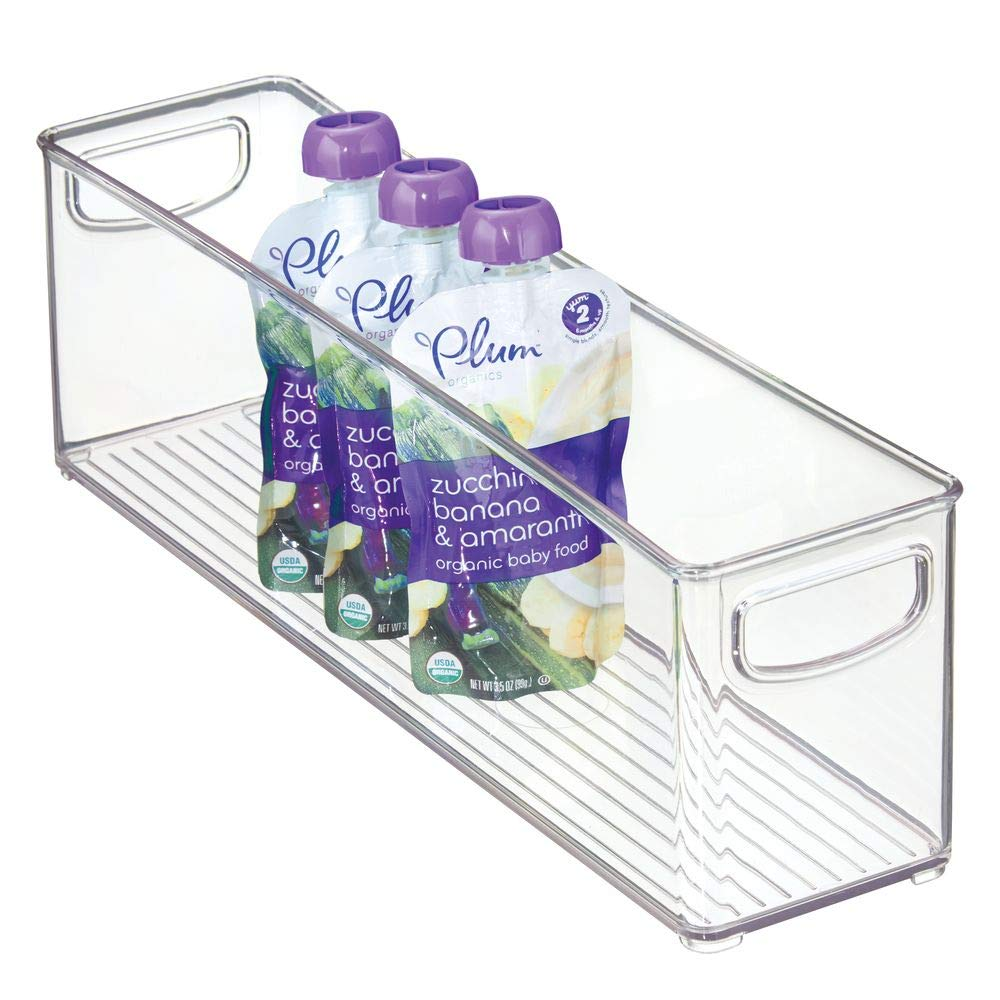 """mDesign Kitchen Refrigerator Cabinet or Pantry Baby Food Storage Organizer Bin with Handles for Breast Milk, Pouches, Jars, Bottles, Formula, Juice Boxes - BPA Free, 16"""" x 4"""" x 5"""" - Clear"""