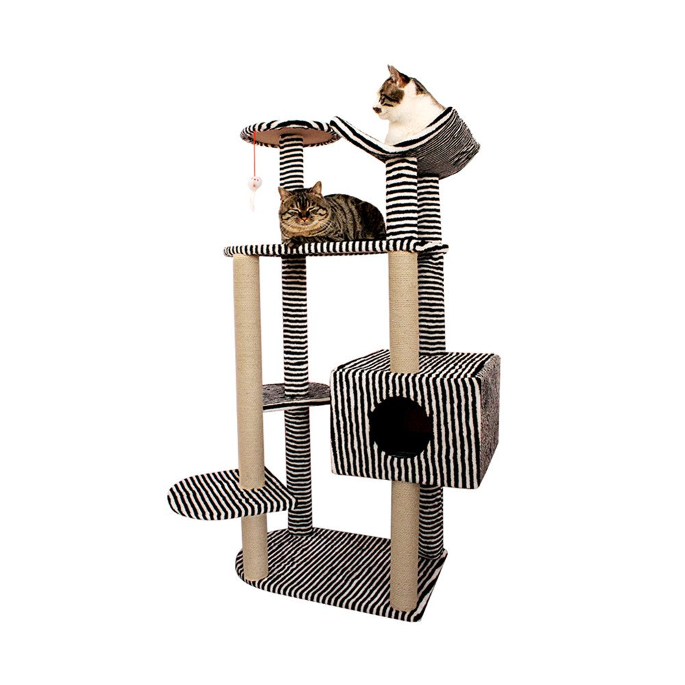 Black and White KTYX 6-Layer Cat Tree Climbing Frame Cat Nest Cat Toy Rope Platform Multifunctional Cat Stand Detachable Combination Pet Supplies (color   Black and White)
