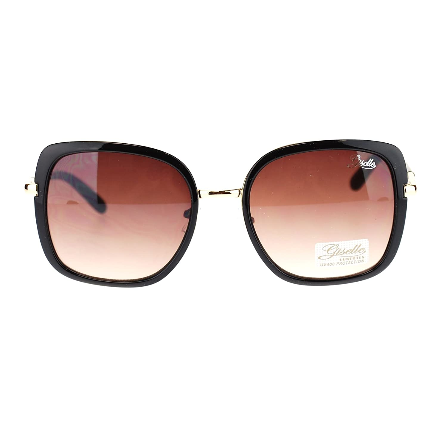 9f77a81df2019 Amazon.com  Designer Square Frame Sunglasses Womens Vintage Look Eyewear  Black  Clothing