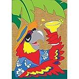 Tropical Hawaiian Shirt Parrot 18 x 13 Rectangular Burlap Double Applique Small Garden Flag For Sale