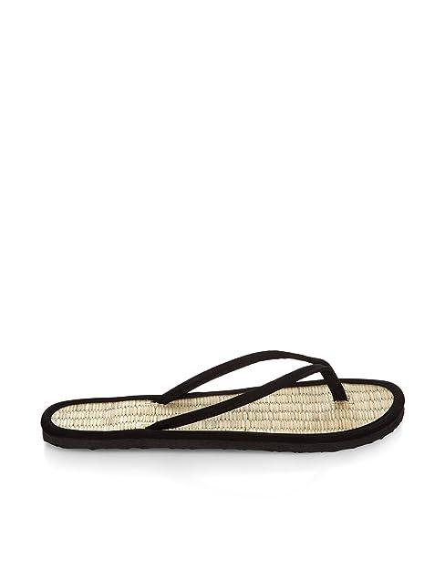 fcbe75664d1122 Accessorize Plain Black Seagrass Flip Flops - Womens - Large  Amazon ...