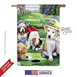 Breeze Decor PT-H-110082-IP Golfing Puppies Garden Flag, 28″ x 40″, Multicolor Review