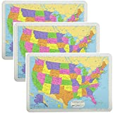 Painless Learning Educational Placemats Sets USA Map 3 Pack Non Slip Washable
