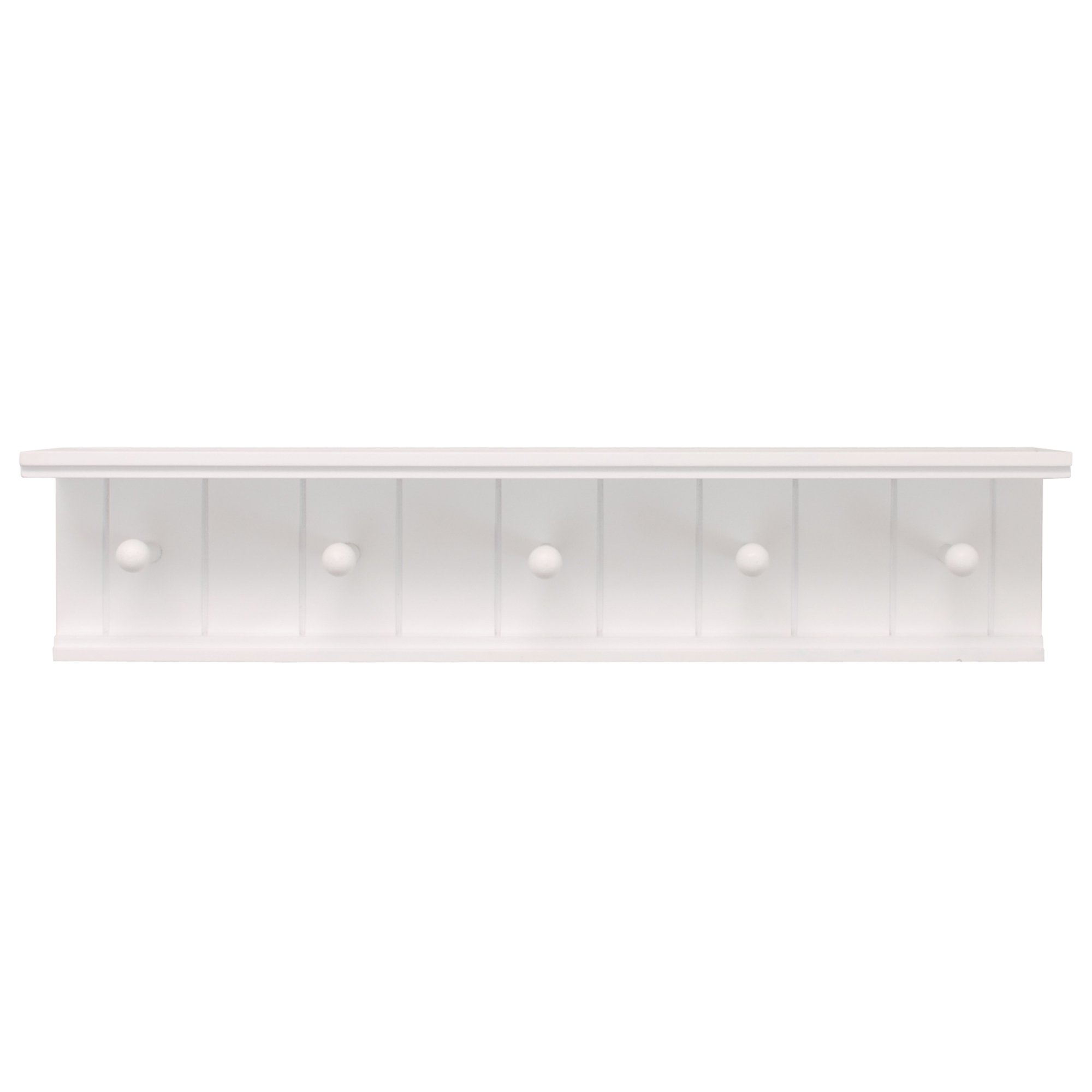 Kiera Grace Kian Wall Shelf with 5 Pegs, 24-Inch by 5-Inch, White by Kiera Grace