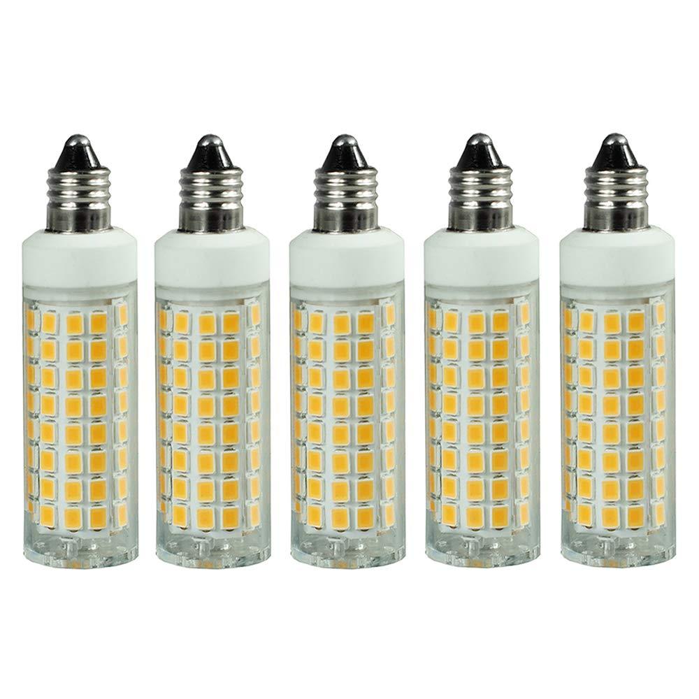 [5-Pack] E11 LED Bulb Dimmable, Replace 100W 75W Halogen Bulb, Warm White 3000K, Mini Candelabra Base Bulb,T4 E11 7.5W 110V 120V 130V Chandelier Bulb, Ceiling Fan Bulb