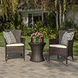 Christopher Knight Home 299425 West Outdoor Wicker 3 Piece Chat Set Brown, Table Dimensions: 19.75'D x 19.75'W x 19.75'H, Cushion Color: Beige